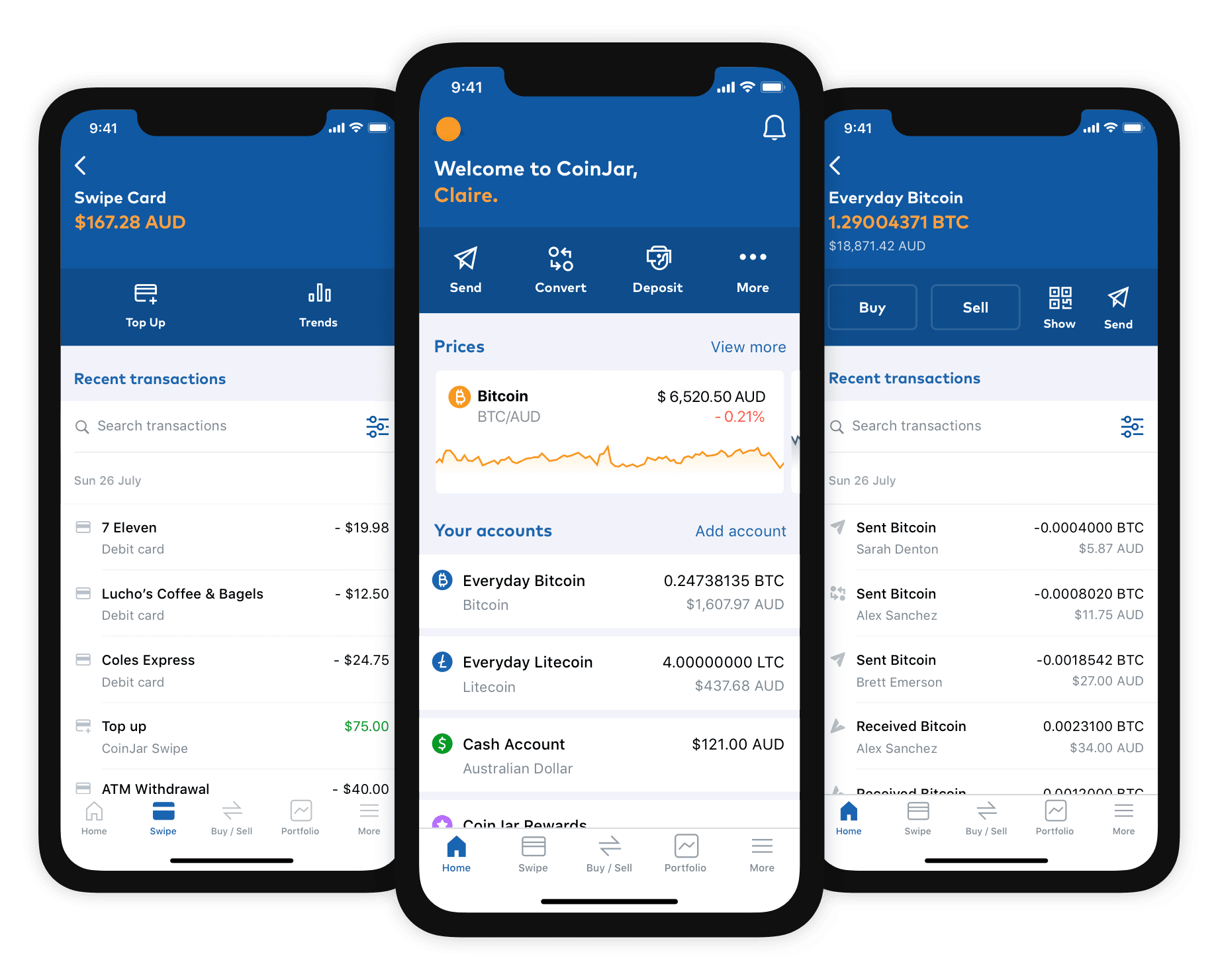 Coinjar interface screenshot