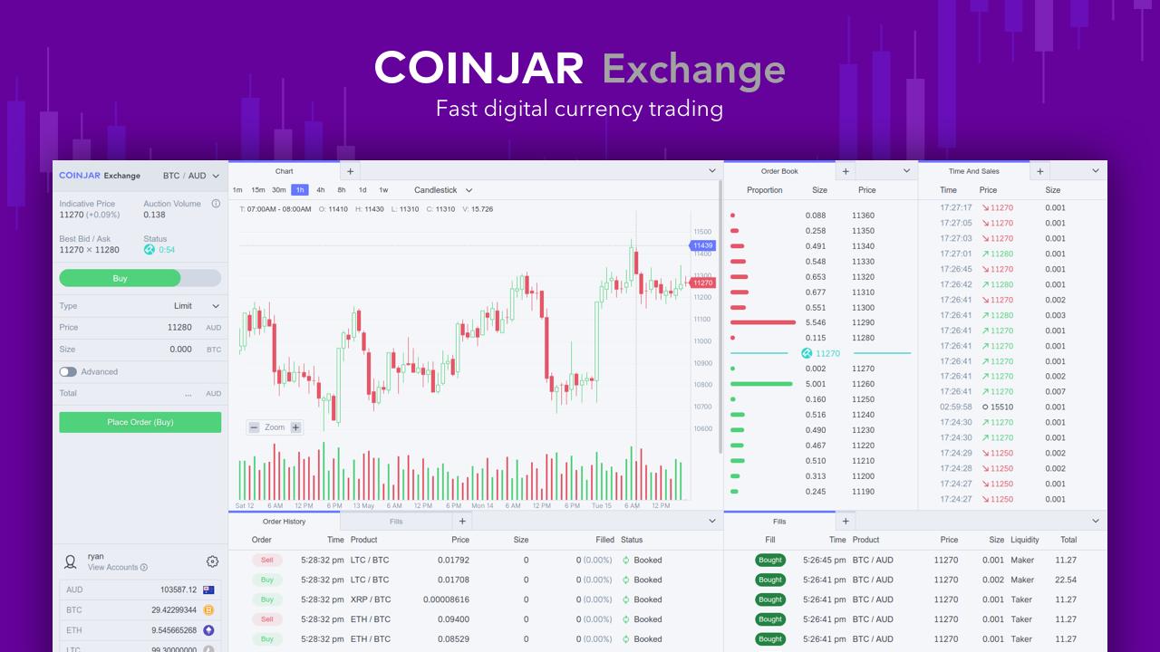 Coinjar website interface