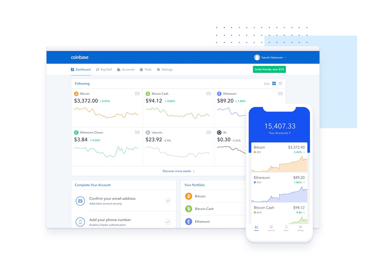 Coinbase mobile interface