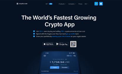 Screenshot of Crypto Com Homepage