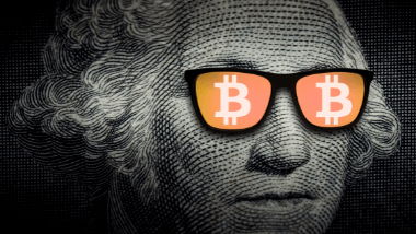 Man with bitcoin glasses