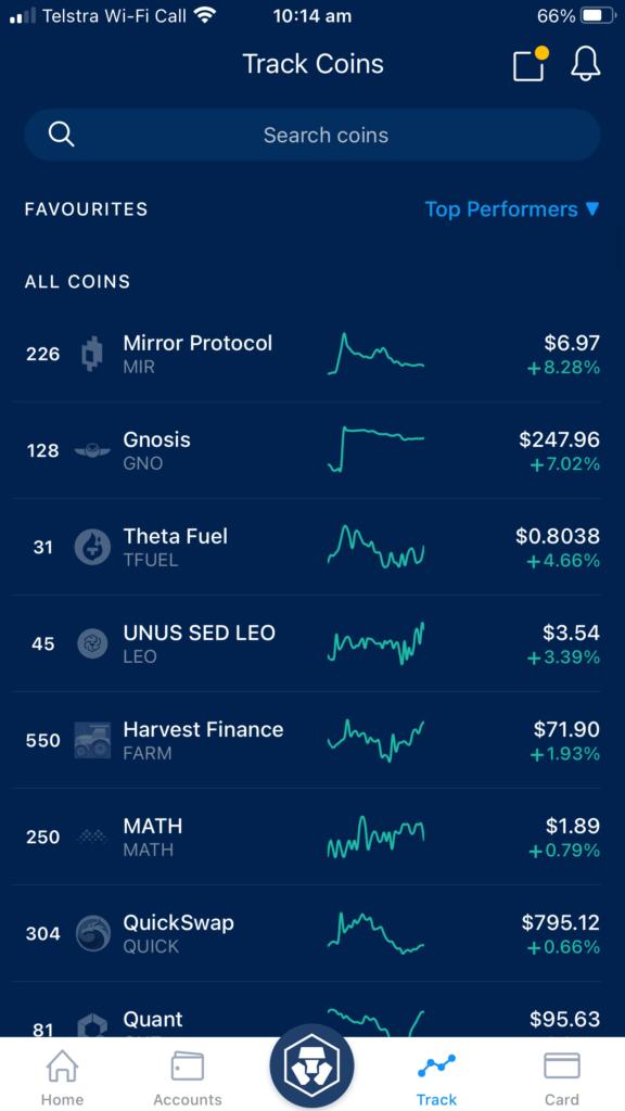 screenshot of crypto com tracking screen